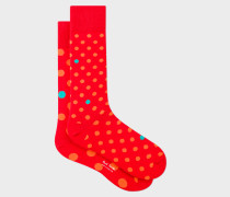 Red Odd Socks With Orange And Turquoise Polka Dots