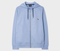 Sky Blue Organic-Cotton Zip-Front Zebra Logo Hoodie