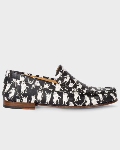 Paul Smith Damen Black 'Danny' Leather Loafers With 'Dancing Cats' Print Online-Shopping Online-Verkauf Spielraum Online Verkauf Truhe Bilder plPbClzuJp