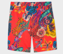 Red 'Ocean' Print Stretch-Cotton Shorts