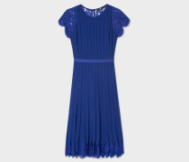 Indigo Pleated Dress With Floral Lace Panels