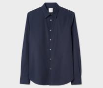 Slim-Fit Navy Cotton Shirt With 'Artist Stripe' Cuff Lining