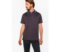 Navy 'Tri-Dot' Stripe Cotton Contrast Stripe-Collar Polo Shirt