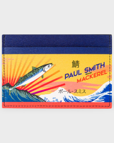 Leather 'Mackerel' Print Credit Card Holder