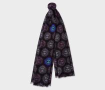 Black And Violet 'Sun' Motif Wool Scarf