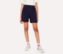 Navy Seersucker Wool Shorts