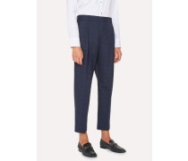 Tailored-Fit Blue Tonal Check Wool Double-Pleat Trousers