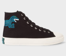 Black Canvas 'Kirk' Trainers With Dino Print