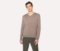 Taupe Marl V-Neck Merino Wool Sweater