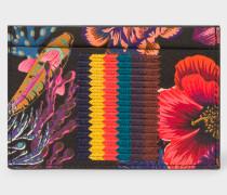 Black 'Ocean' Print Card Holder With 'Bright Stripe' Webbing