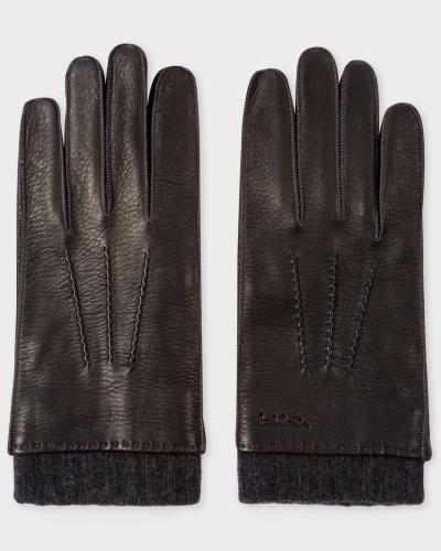 Black Deerskin Silk-Cashmere Lined Gloves