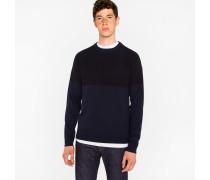 Navy And Black Textured Stripe Merino Wool Sweater