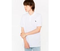 White Organic Cotton-Piqué Zebra Logo Polo Shirt