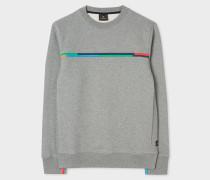 Grey Single-Stripe Organic-Cotton Sweatshirt