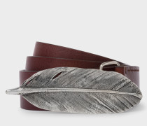 Chocolate Brown Feather Buckle Leather Belt
