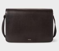 Black Leather 'New City' Messenger Bag