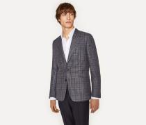 Tailored-Fit Navy Check Wool-Silk Blazer