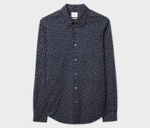 Tailored-Fit Navy 'Lightbulb' Print Stretch-Cotton Shirt
