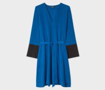 Petrol Blue V-Neck Dress With Contrasting Cuffs