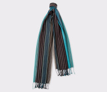 Black Multi-Coloured Stripe Silk-Blend Scarf