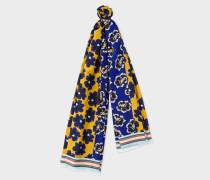 Blue And Yellow 'Hawaiian Floral' Pattern Cotton And Silk-Blend Scarf