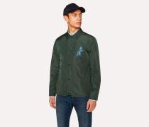 Dark Green 'Dino' Print Coach Jacket