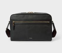 Black Leather 'City Webbing' Cross-Body Bag
