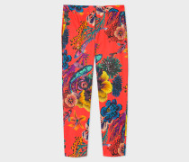 Red 'Ocean' Print Stretch-Cotton Trousers
