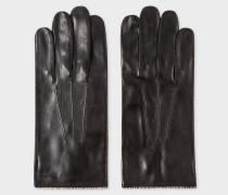Black Leather Signature Stripe Trim Gloves