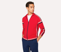 Red Cotton Funnel-Neck Zip-Front Cardigan