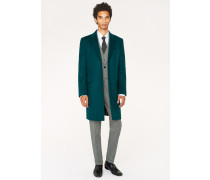 Wool And Cashmere-Blend Dark Green Overcoat