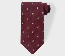 Burgundy Embroidered Rabbit Motif Silk Tie