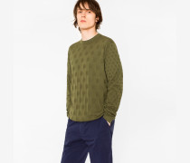Khaki Knitted Polka Dot Jacquard Cotton Sweater