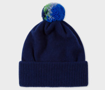 Navy Lambswool Knitted Bobble Hat