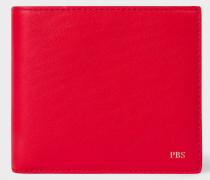 Red Leather Monogrammed Billfold Wallet