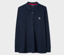 Navy Organic-Cotton Zebra Logo Long-Sleeve Polo Shirt