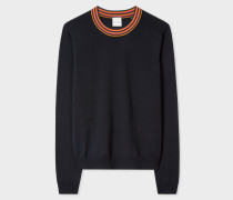 Navy Wool Sweater With 'Artist Stripe' Collar