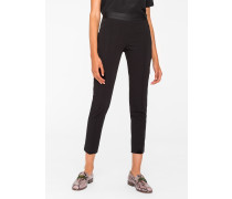 Slim-Fit Black Stretch-Cotton Trousers With Waist Zip