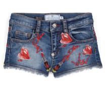 """Denim shorts """"Kiss roses"""""""