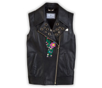 "Leather vest ""Flower skull"""
