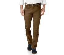 Slim Fit 5 Pocket Pique-Stretch-Hose in Braun