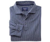Langärmeliges Poloshirt in Blau und Weiß