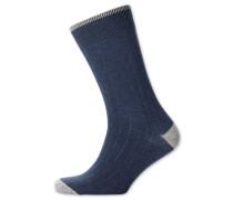 Rippstrick-Socken in Indigoblau