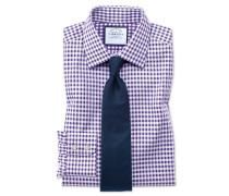 Extra Slim Fit Hemd in Lila mit Gingham-Karos
