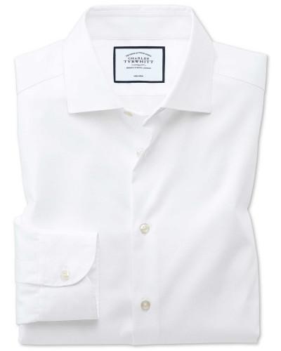 Bügelfreies Slim Fit Business-Casual Hemd in Weiß