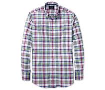 Classic Fit Hemd aus Popeline in Rosa und Grün