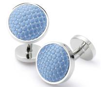 Manschettenknöpfe in Himmelblau mit Diamantmuster