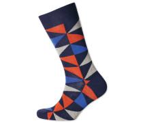 Socken mit bunten Dreiecken in Orange und Blau