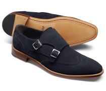 Schuhe mit doppelter Schnalle aus Veloursleder