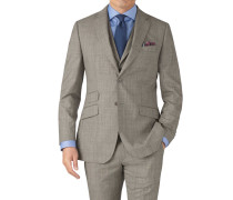 Slim Fit Panama-Businessanzug Sakko in Grau
